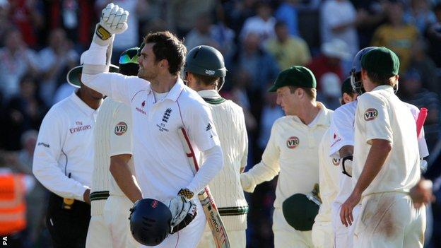 England's James Anderson (left) celebrates holding out for a draw against Australia in the 2009 Ashes Test at Cardiff