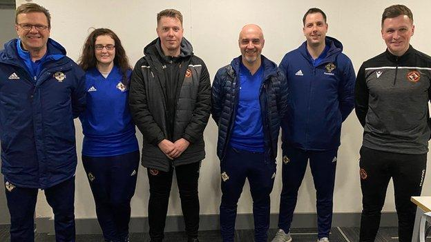 Dundee United's academy director Andy Goldie with the Club NI coaches during his pre-lockdown trip to Northern Ireland