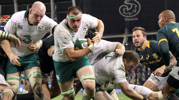Rhys Ruddock bursts clear to score one of Ireland's tries in their win over the Springboks last November