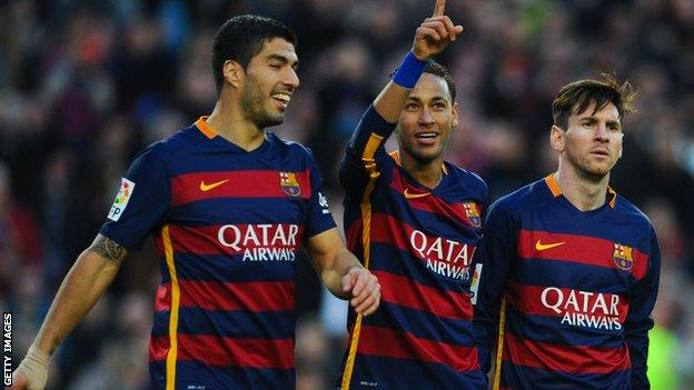 Neymar with Luis Suarez and Lionel Messi at Barcelona