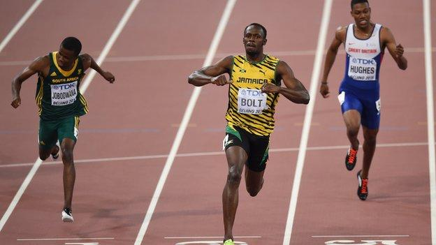Zharnel Hughes (right) finished fifth behind gold medallist Usain Bolt at