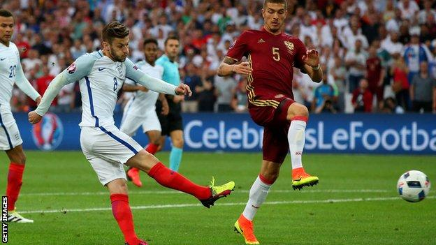 Adam Lallana playing against Russia at Euro 2016