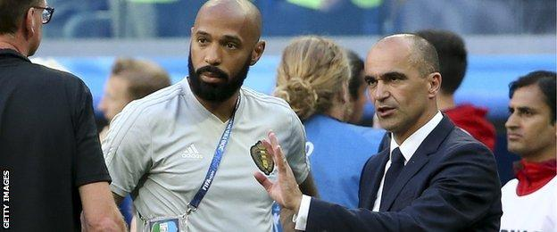 Belgium coach Thierry Henry and manager Roberto Martinez