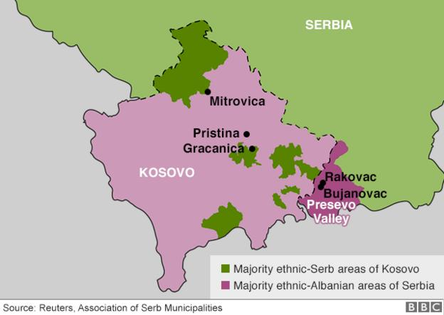 Map of Serbia and Kosovo