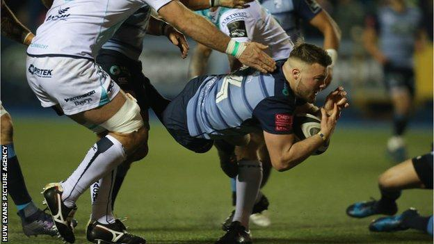 Cardiff Blues winger Owen Lane finds a gap in the Connacht defence to score