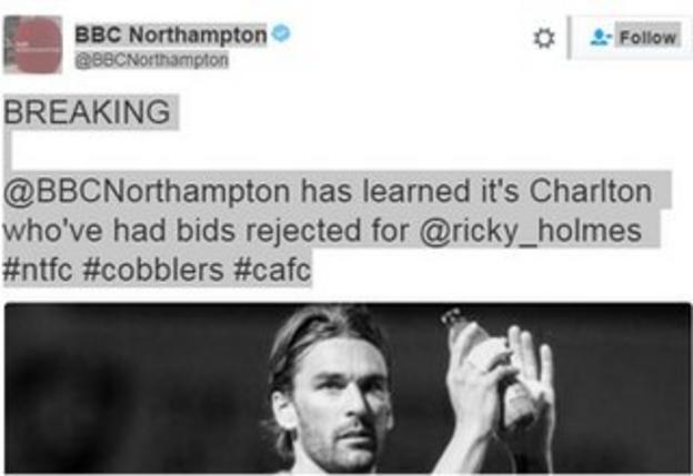 Ricky Holmes tweet