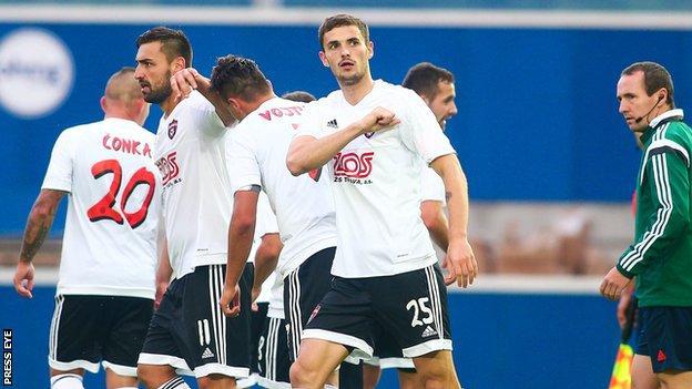 Spartak skipper Erik Sabo celebrates after scoring one of his two goals
