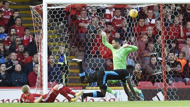 Apollon Limassol scores against Aberdeen