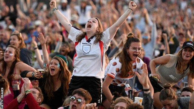 England's game against Cameroon was shown at Glastonbury