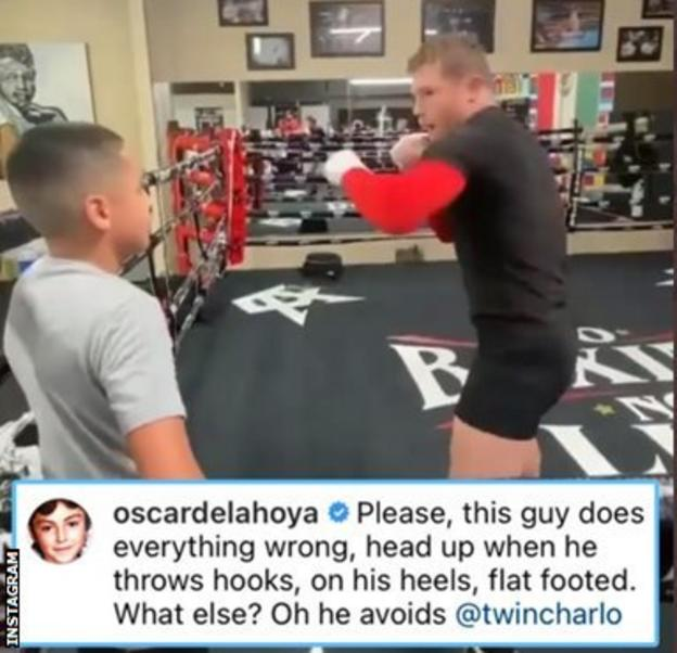 """Oscar de la Hoya comments on a picture of Saul Canelo Alvarez with :""""Pleaste this guy does everything wrong, head up when he throws hooks, on his heels, flat footed."""""""