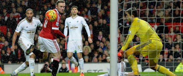 Wayne Rooney scores for Manchester United against Swansea
