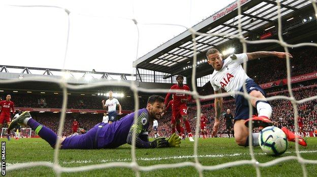 Tottenham defender Toby Alderweireld scores his own goal against Liverpool