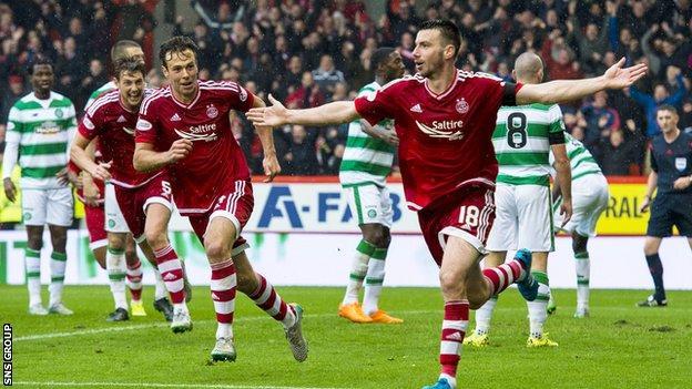 Paul Quinn celebrates his late winner for Aberdeen