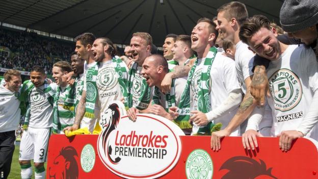Celtic players celebrating