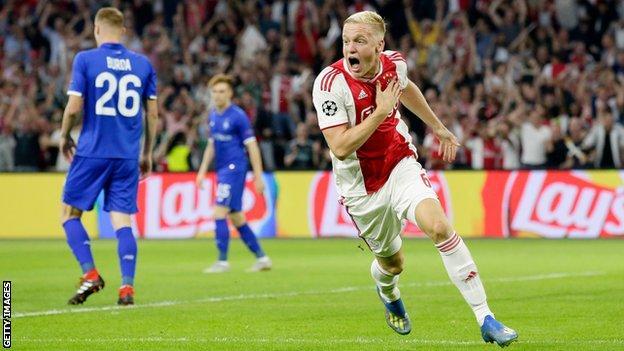 Ajax midfielder Donny van de Beek celebrates scoring against Dynamo Kiev