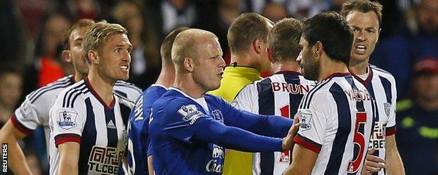 Everton striker Steven Naismith has an argument against West Brom