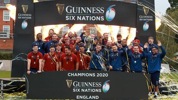 England with the Six Nations trophy