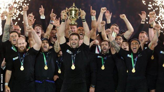 Richie McCaw and New Zealand's 2015 World Cup winning squad