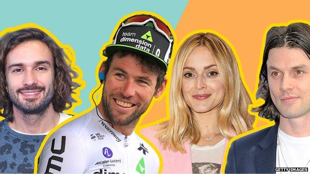 Collage van Joe Wicks, Mark Cavendish, Fearne Cotton en James Bay