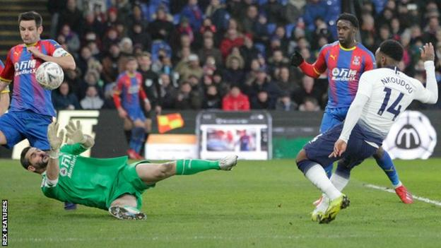 Crystal Palace goalkeeper Julian Speroni makes a save during his side'swin over Tottenham Hotspur in the fourth round of the FA Cup