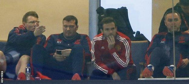 Mata watched the rest of the game from one of the boxes inside The Hawthorns