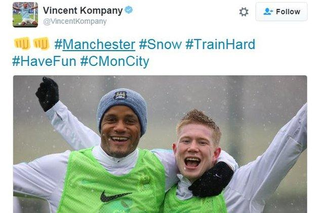 Manchester City's Vincent Kompany and Kevin de Bruyne