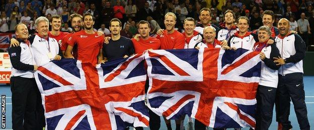 Britain celebrate beating the USA in the Davis Cup