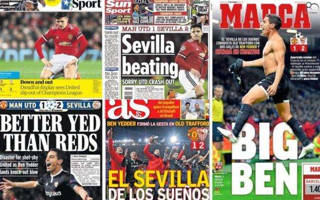 Spanish and English newspapers react to United's defeat