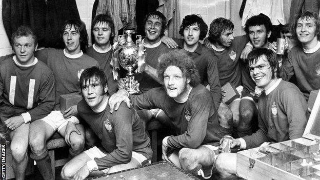 Wrexham players celebrate their Welsh Cup win in 1972