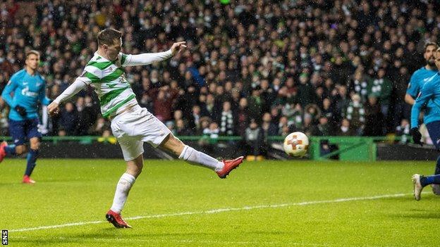 Celtic midfielder Callum McGregor scores against Zenit