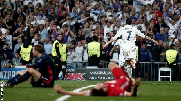 Cristiano Ronaldo celebrates scoring for Real Madrid against Bayern Munich in the 2017 quarter-finals