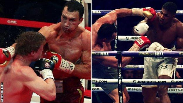Klitschko beat Povetkin in 2013 (left) while Joshua beat the Ukraine fighter four years later
