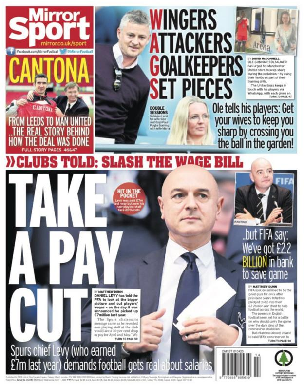 Mirror back page for Wednesday, 1 April 2020