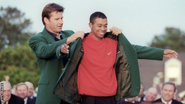 Tiger Woods is awarded his first Green Jacket in 1997