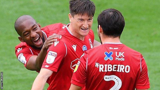 Forest players celebrate Joe Lolley's first-half goal