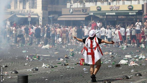 England fans in Marseilles