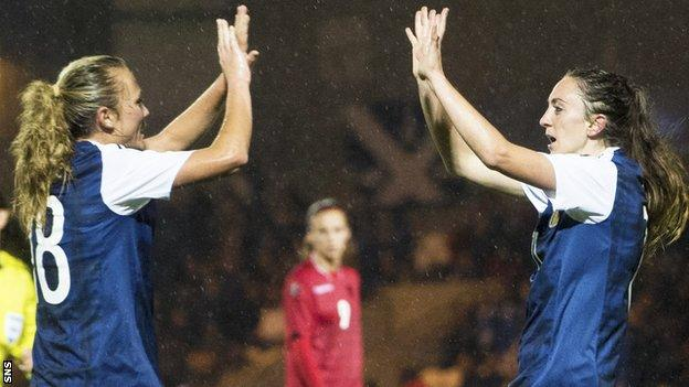 Claire Emslie and Lisa Evans celebrate against Albania