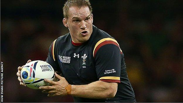 Gethin Jenkins playing for Wales during the 2015 World Cup