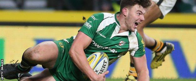 Johnny Williams celebrates a try against Wasps