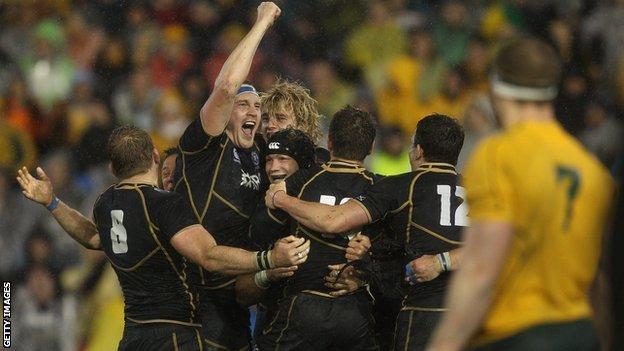 Scotland celebrate beating Australia in 2012
