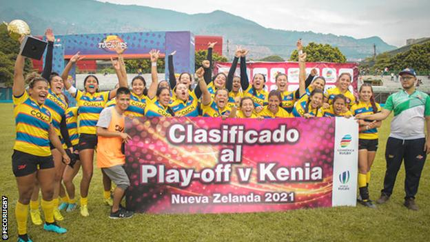 Colombia women celebrate reaching the play-off v Kenya