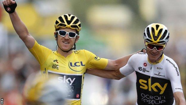 Tour de France: Geraint Thomas wins as Chris Froome finishes third