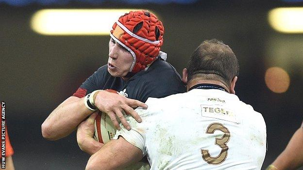 Back row Seb Davies in action for Wales against Georgia