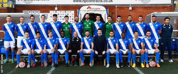 Eastleigh team photo before Bolton FA Cup tie