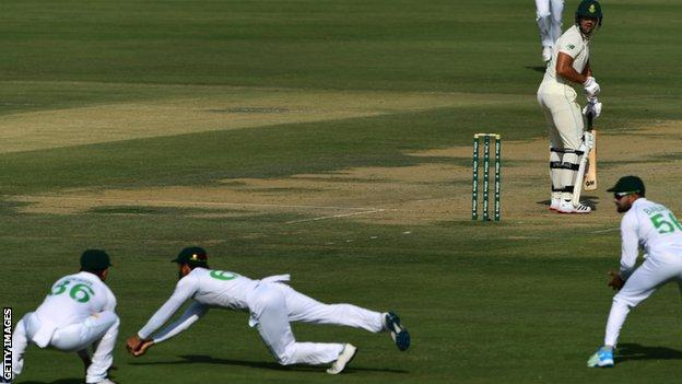 Aiden Markram is caught at slip by Imran Butt
