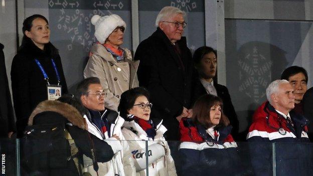 USA vice-president Mike Pence (bottom right) and North Korea's Kim Yo-jong (top left)