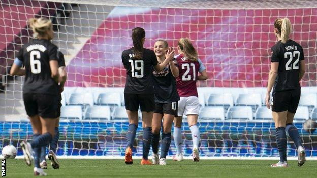 Manchester City celebrate Georgia Stanway's opening goal