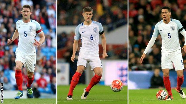 (left to right) Gary Cahill, John Stones and Chris Smalling
