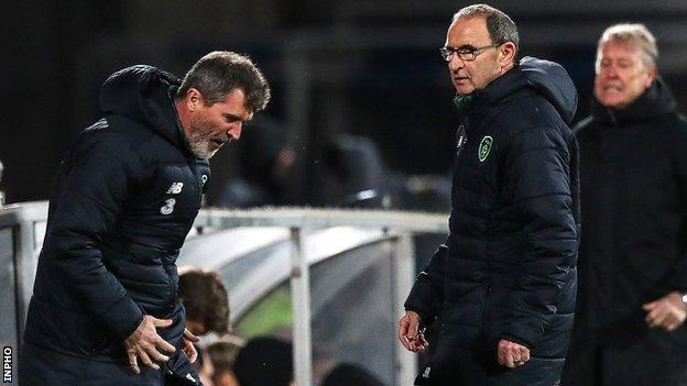Republic assistant boss Roy Keane shows his frustration in Aarhus as manager Martin O'Neill looks on