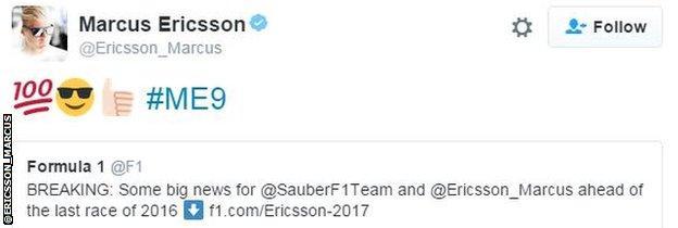 Marcus Ericsson tweet